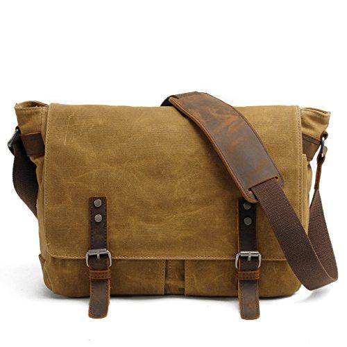 Peacechaos Men's Canvas Leather DSLR SLR Vintage Camera Messenger Bag (Khaki)