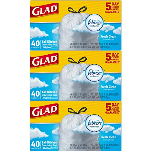 Gallon 40k (Glad OdorShield Tall Kitchen Drawstring Trash Bags - Febreze Fresh Clean - 13 Gallon - 40 count - 3 Pack (Packaging May Vary))
