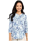 NYDJ Women's Petite 3/4 Sleeve Henley Pleat Back Blouse, Sumi Splash Blue Wave, Medium/Petite