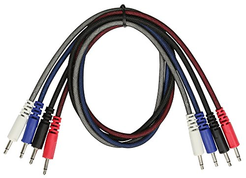 Pig Hog Solutions - 4 Pack of 3.5 mm Interconnect Mono Patch Cables 24 in. (24 Cord Awg Patch)