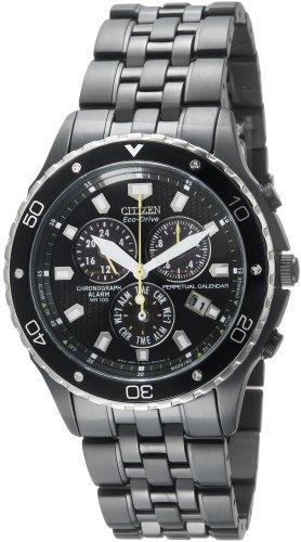 Citizen Men's BL5295-55E Eco-Drive Perpetual Calendar Black Ion-Plated Chronograph Watch