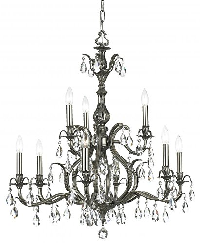 Crystorama 5569-AB-GT-MWP Crystal Accents Nine Light Chandelier from Dawson collection in ()