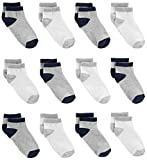 Simple Joys by Carter's Baby Boys' Toddler 12-Pack Sock Ankle, Gray, White, 4T/5T