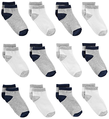 (Simple Joys by Carter's Baby Boys' Toddler 12-Pack Sock Ankle, Gray, White, 4T/5T)