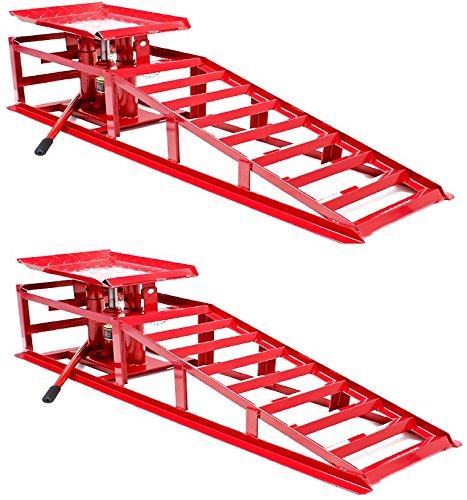 Progen, rampe con movimento idraulico per automobili e furgoni, rampa da garage per veicoli, con martinetto idraulico, da 2 tonnellate (2 rampe)