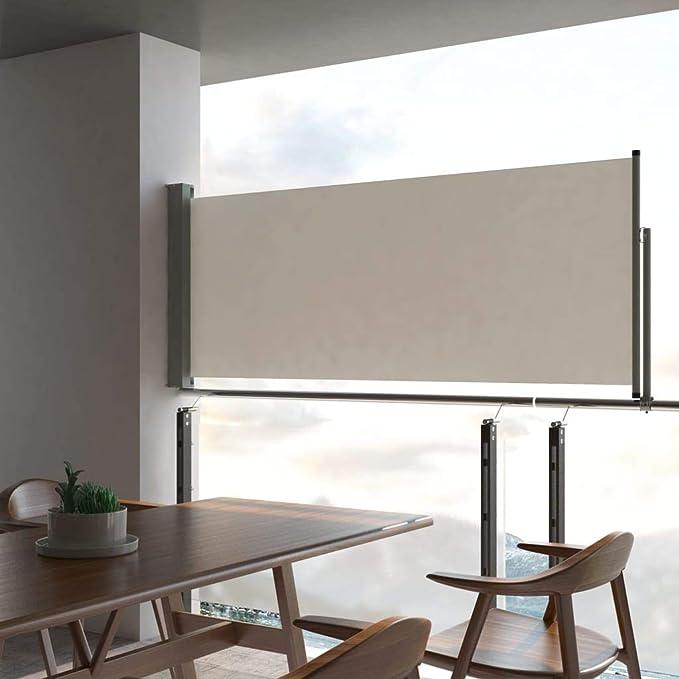 Tidyard Toldo Lateral Retráctil para Terraza Patio Balcon con Función de Enrollado Automático,100x300cm Crema: Amazon.es: Hogar