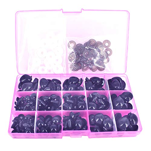 Black Bear Crafts - BESTCYC 75Pcs 10/12/14/16/18MM 5 Sizes in a Box Black Plastic Safety Eyes and Noses Set for Teddy Bear Doll Animal Puppet Craft