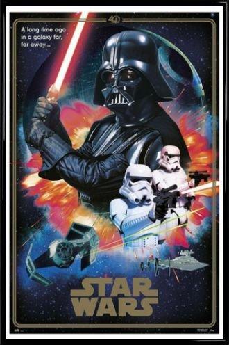 amazon com star wars poster and frame plastic 40 aniversario