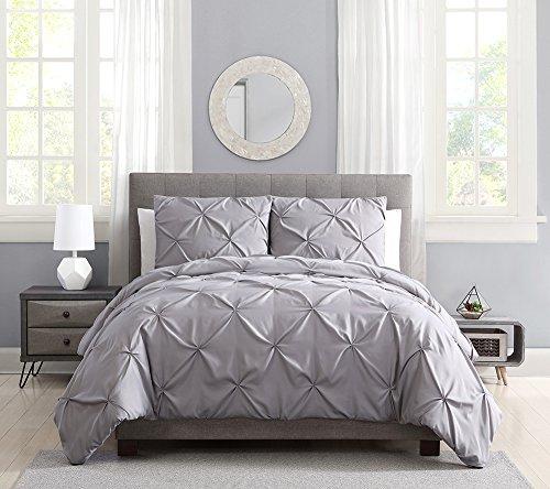 Pinch Pleat Pintuck Duvet Cover Set,3 Pieces Decorative Stylish Brushed Microfiber Bedding Set with Zipper (King Grey) (Pinch Pleat Duvet Cover King)