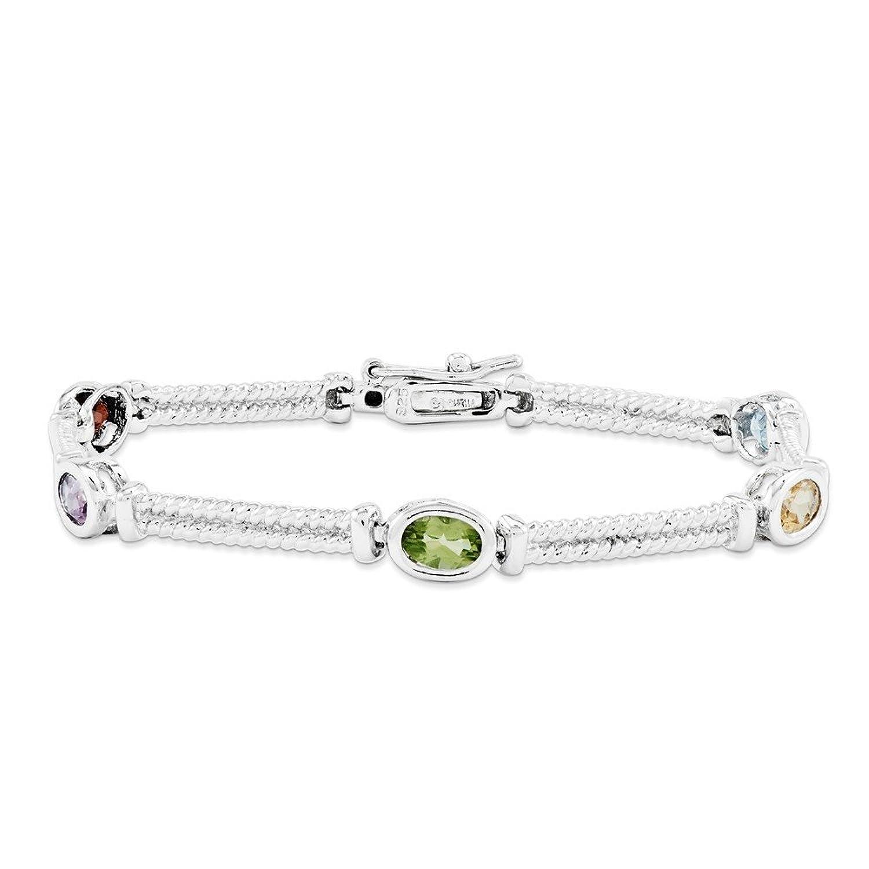 .925 Sterling Silver Multi-Color Semi-Precious Bracelet 7.00 Inches