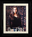8x10 Class of 2014 Portrait Senior/Graduate School Photo Keepsake Frame ~ Cream Mat with BLACK Frame
