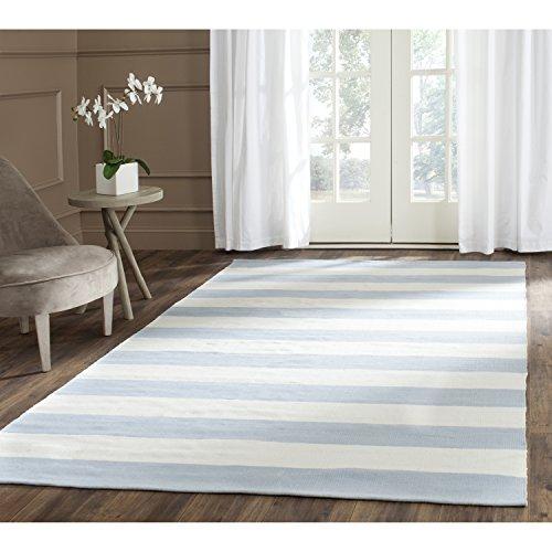 Safavieh Montauk Collection MTK712K Handmade Flatweave Sky Blue and Ivory Cotton Area Rug (6