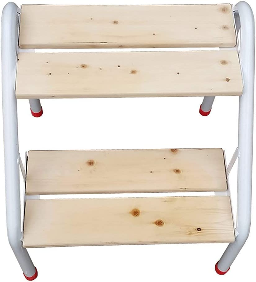 QQXX Taburete con peldaños Hierro y Madera Escalera con 2 peldaños Taburete Escalera Silla Estante de Flores Estante Cambiar Zapatos Taburete, Color Natural 40x46.5x46.5cm