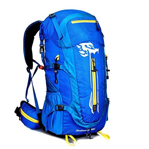 LQABW De Gran Capacidad De Montar Al Aire Libre Mochila Los Hombres Y Las Mujeres A Prueba De Agua Bolsa De Tela Oxford Deportes Morral Del Alpinismo 50L Mochila De Senderismo,Black Blue