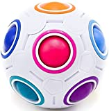 Toyzabo Challenging Rainbow Puzzle Speed Cube Ball Fun Fidget Toy Brain Teaser With 11 Colors (2 Pack)