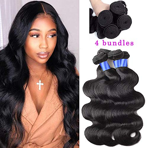 Gluna Hair Brazilian Body Wave 4 Bundles 8A 100% Unprocessed Virgin body wave Human Hair Extension Hair Weave Weft Natural Color (16 18 20 22 inch)
