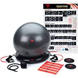 ThinkFit Anti Burst Yoga Exercise Ball 65cm & Resistance Exercise Bands Set with Handles & Stability Ring - Total Home Gym Equipment Bundle: Workout Posters, Ball Pump & Core Sliders for Fitness