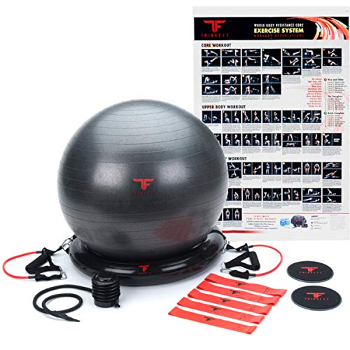 ThinkFit Premium Home Gym Bundle - 65cm Yoga Exercise Ball Pack & Resistance Band Set W/Handles | Includes Core Sliders, Foot Pump & Workout Poster | Perfect for Home ()