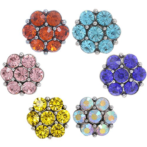 Morella click-button lot de 6 boutons click glitzerparadies 6 couleurs