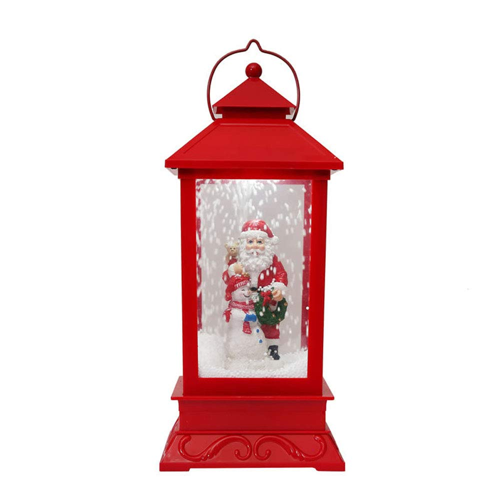 Mobestech Christmas Musical Snow Globe LED Lantern Plug in & Battery Operated Glittering Snowflake Santas Claus Lantern for Christmas Decoration Gift-Red