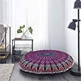 Pink Mandala Pouf 32 Inch Hippy Cushion Cover Boho Seating Cushion Cover Indian Cotton Round Ottoman Pillow Covers Round