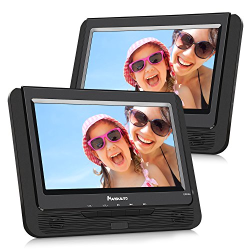 NAVISKAUTO 9″ Portable DVD Player Dual Screen for Kids with Car Headrest Mount Straps, 5 Hour Rechargeable Battery and USB/SD Card Slot