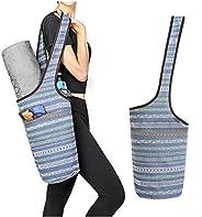 CinKeer Yoga Mat Bag + Yoga Strap Set, Yoga Carrying Bag for Mat and Blocks Patterned Canvas Large Sling Yoga