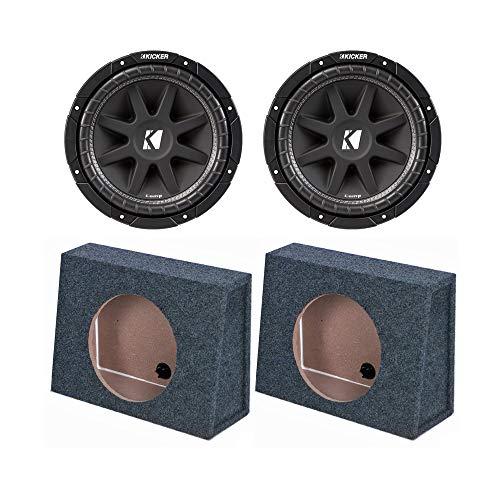 Slim Series Subwoofer - Rockford Fosgate Kicker 43C124 12 Inch 300 Watt 4-Ohm COMP Series Car Audio SVC Sub Subwoofer C12 (2 Pack) Q Power 12-Inch Sealed Slim Shallow Truck Subwooofer Box Enclosure   TW12-SINGLE (2 Pack)