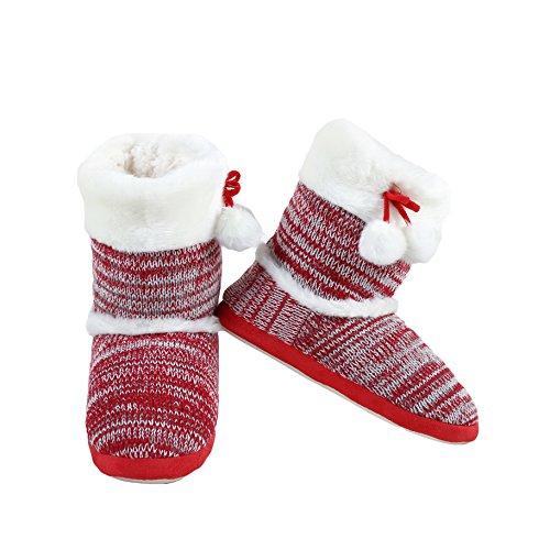 Velo Di Intrattenimento Yelete Alla Moda Eco-pelliccia Per Le Vacanze Boot Knit Donna Multi Colore Pantofole Interne Rosse