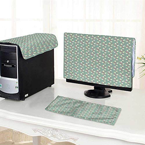 Auraisehome Keyboard dust Cover Computer 3 Pieces Flying with Little Hearts Love Theme Valentines Day Pattern Jade Green Soft Pink Computer dust Cover /22