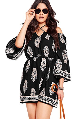 Women Summer Dresses 2017 Short Off Shoulder Sleeves Vintage Blouse Plus Size Black (Plus Size 70s Clothing)