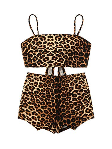 Leopard Print Ruffle Trim - SweatyRocks Women's 2 Piece Boho Floral Print Crop Cami Top with Shorts Set (Large, Leopard)
