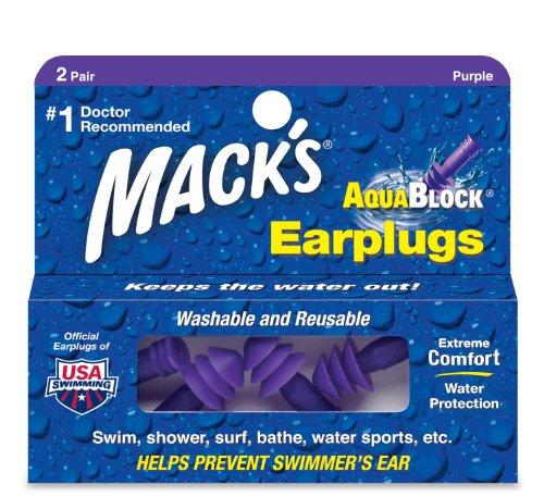 Mack's AquaBlock Earplugs, 2 Pair, Comfortable, Waterproof, Ear Plugs for Swimming, Snorkeling and Showering (Pack of 2)