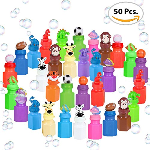 Mini Bubble Bottles with Wands by ArtCreativity (50 Pieces) | Great Bubbles Party Favors for Boys and Girls | Extra-Wide Variety Bulk Pack | Cute and Fun Bubble Blowing Wand Kit for Kids Boy Mini Favor
