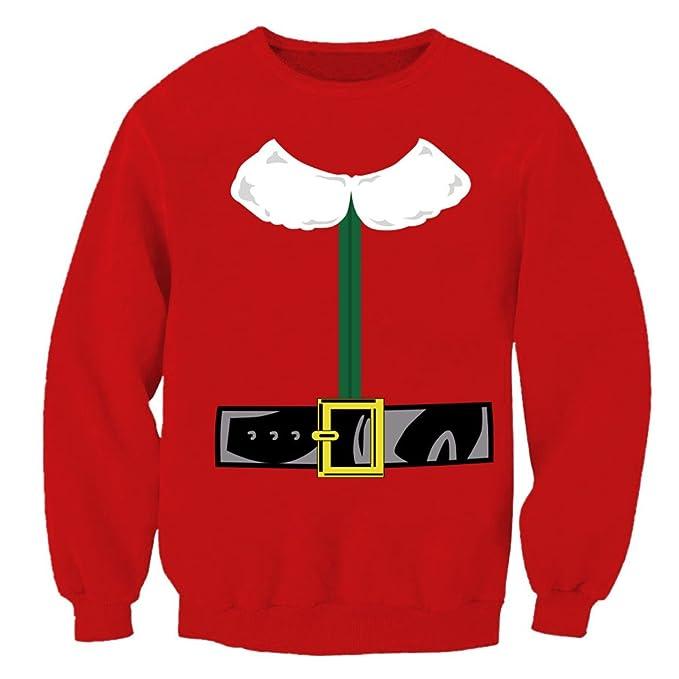 DELEY Unisex Familia Mujeres Hombres Moda Navidad Fiesta Impresión Sudadera Hoodie Hooded Pullover Blusas Camisetas Partido