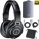 Audio-Technica ATH-M40x Professional Studio Monitor Headphones + FiiO A3 Headphone Amplifier
