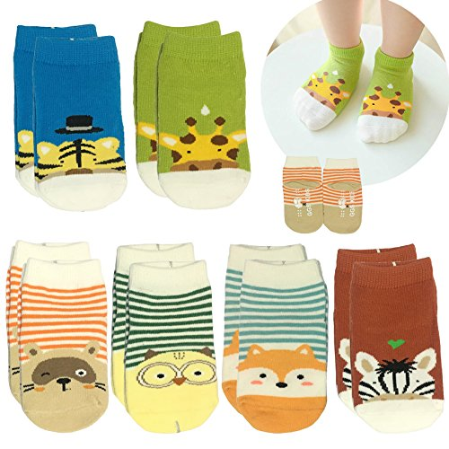 6pairs Baby Anti Slip Ankle Sock Toddler Non Skid Cotton No Show Cotton Animal Infant Stripes Sneakers Socks 12-24month