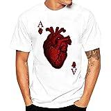 Zulmuliu Mens Short Sleeve T-Shirt,Hipster Heart Print Tee Shirt Summer Sport Party Blouse (White,M)