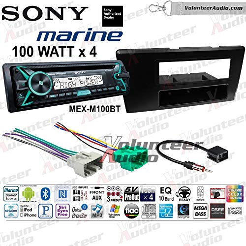 Sony MEX-M100BT Single Din Marine Radio Install Kit With Sirius XM Ready, CD Player, 100W Built-In Amp Fits 2001-2004 Volvo S60