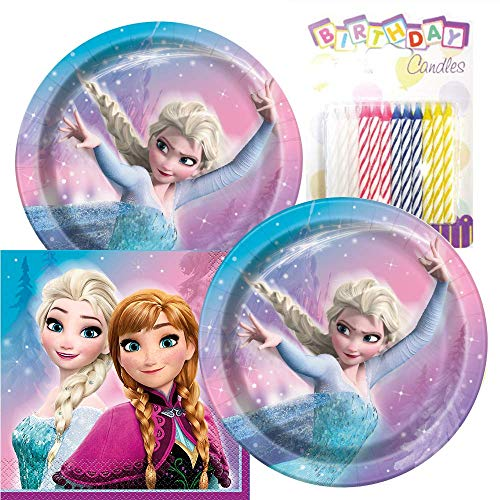 Frozen Themed Party Pack - Includes Paper Plates & Luncheon Napkins Plus 24 Birthday Candles - Servers 16]()