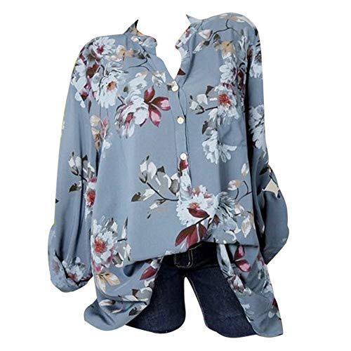 HongXander Plus Size Women Casual Floral Printed Beach Blouse Button T-Shirt Chiffon Irregular Hem Top (Light Blue, L) from HongXander-Shirts