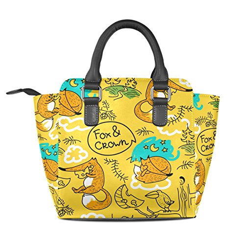 Sings Bag Women Handle Background Yellow And Crossbody Multicolored Bags Leather Shoulder Coosun Tote Bag Pu Middle Top Foxes USq7wxnUCI
