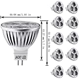 JACKYLED MR16 4W LED Bulb, Pack of 10, Warm White 3000K, 4W = 40W Equivalent, Ultra Bright, 60 Degree Beam Angle, Recessed Track Light, 360 Lumens, Standard MR16 Spot Lights & Lamp