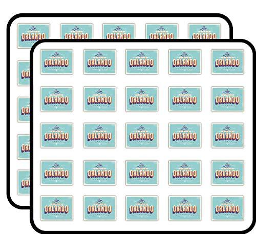 Orlando City Florida USA Vintage Label Art Decor Sticker for Scrapbooking, Calendars, Arts, Kids DIY Crafts, Album, Bullet Journals 50 Pack -