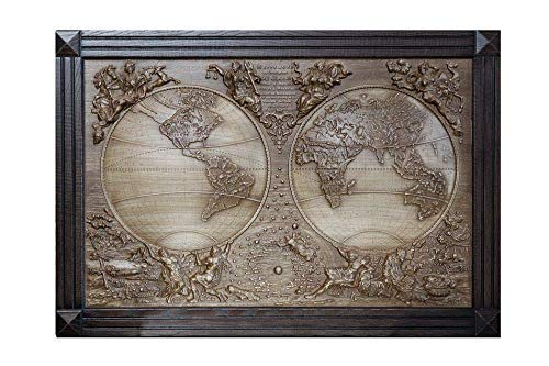 Wood Carving 3D Picture - Wooden 3D World Map - Wood Wall