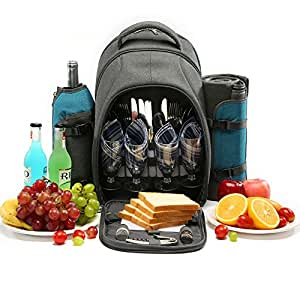 Picnic Backpack Bag with Cooler Compartment, Breathable Suspension System, Plates and Cutlery Set Perfect for Outdoor, Sports, Hiking, Camping, BBQs (Aqua blue-4person)