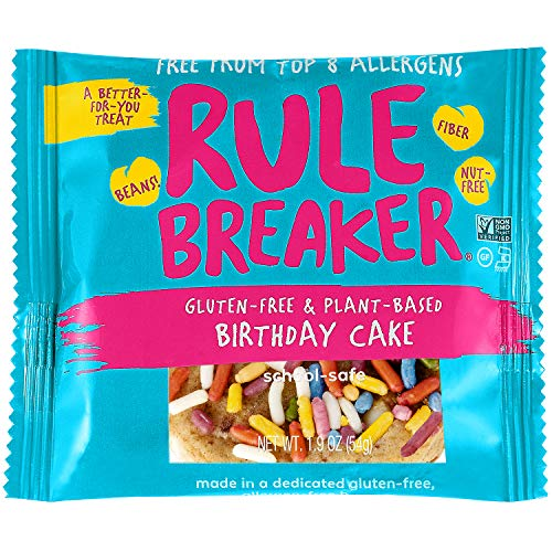 - Rule Breaker Snacks, Birthday Cake, Healthy and Unbelievably Delicious, Vegan, Gluten Free, Nut Free, Free from Top Eight Allergens, Kosher (12ct pack)