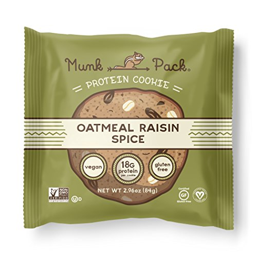 Munk Pack - Oatmeal Raisin Spice - 18g Protein Cookie | Vegan, Gluten Free | Soft Baked | 6 Pack , 2.96 oz per Cookie