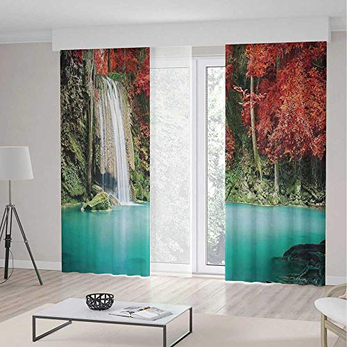 TecBillion Window Curtains,Waterfall Decor,Living Room Bedroom Curtain,Single Waterfall in Corner of The Deep Forest with Fair Fall Oak Trees,103Wx83L Inches -
