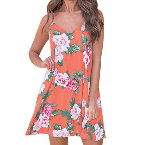 - Women's Summer Sleeveless Strap Beach Vneck Floral Print Short Floral Mini Dress (Orange, M)